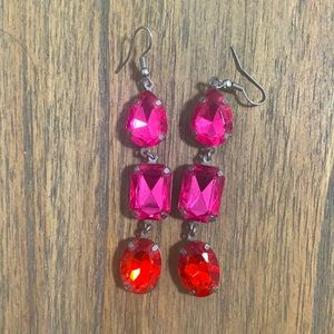 H&M Pink and Red Statement Earrings